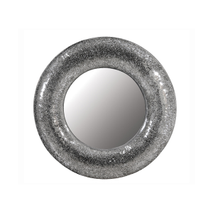 large round silver mosaic mirror