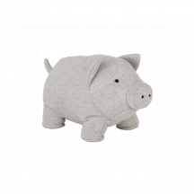 Rustic Grey Herringbone Fabric Pig Doorstop