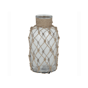 Rustic Rope and Glass Bottle Vase