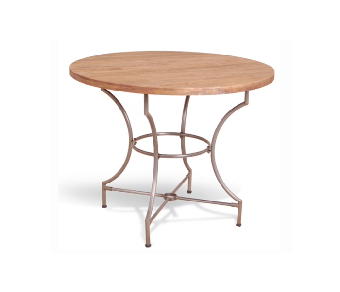 Industrial Heritage Round Table Wooden Slat Top