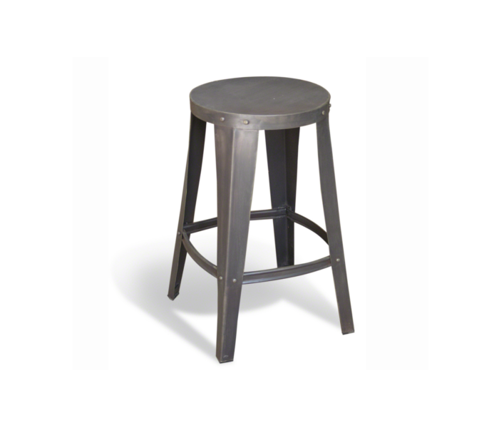 Industrial Heritage Low Grey Steel Stool
